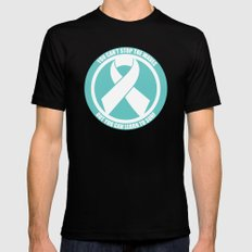 Ride the Waves - Cancer Ribbon Mens Fitted Tee MEDIUM Black
