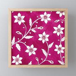 Magenta Watercolor Floral Pattern Framed Mini Art Print