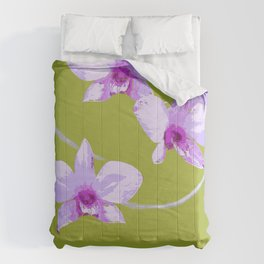 Cooktown Orchid (Dendrobium Phalaenopsis)  on forest green Comforters