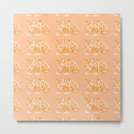Cute Ginger Cat Pattern Metal Print