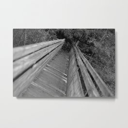 Wooden bridge Gießenbachklamm, black and white photo Metal Print