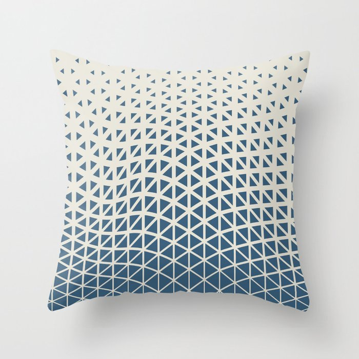 Blue & Linen White Gradient Tessellation Cubism Pattern 2 Inspired by 2020 Color of the Year Chinese Throw Pillow