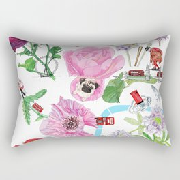 London in Bloom - Flowers and transportation that make London Rectangular Pillow