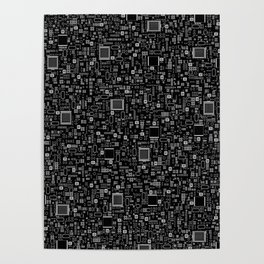 All Tech Line INVERTED / Highly detailed computer circuit board pattern Poster