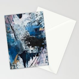 Breathe: colorful abstract in black, blue, purple, gold and white Stationery Cards