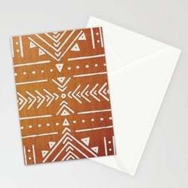 Mudcloth White Geometric Shapes in Ochre Burnt Orange Stationery Cards