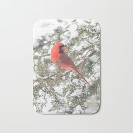 Cardinal on a Snowy Cedar Branch (v) Bath Mat