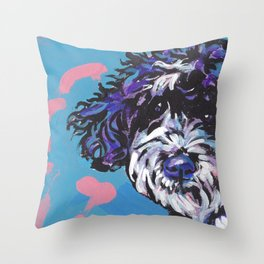 PWD Portuguese Water Dog Fun bright colorful Pop Art Dog Paintingby Lea Throw Pillow