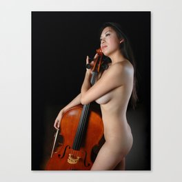 0205-JC Nude Cellist with Her Cello and Bow Naked Young Woman Musician Art Sexy Erotic Sweet Sensual Canvas Print