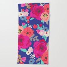 Sweet Pea Floral Blue Beach Towel