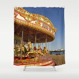 Golden Carousel at the Beach Shower Curtain