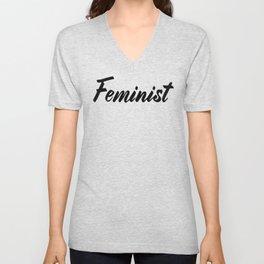 Feminist (on white) Unisex V-Neck