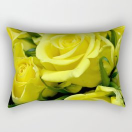 Yellow Glamorous Roses Floral Bouquet Rectangular Pillow