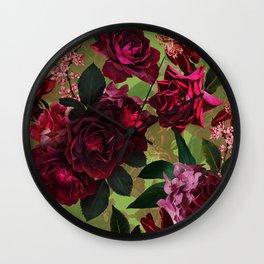 Vintage & Shabby Chic - Botanical Roses Summer Garden   Wall Clock