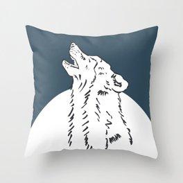 Pra Loup Howling Wolf Throw Pillow