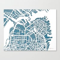 blueprint Canvas Prints featuring Boston Blueprint by Anne E. McGraw
