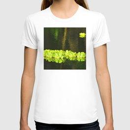 Tropical Hawaiian Leaf Lei Floating on Pond T-shirt