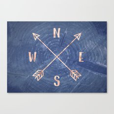 Compass in Rose Gold and Navy Canvas Print