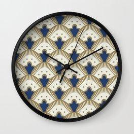 Fan Pattern Blue/Gold Wall Clock