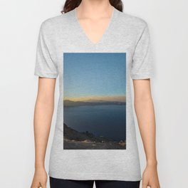 Panorama of Crater Lake National Park, at sunset Unisex V-Neck