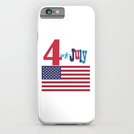 4th of July Happy Independence Day Patriotic American flag & stars iPhone Case