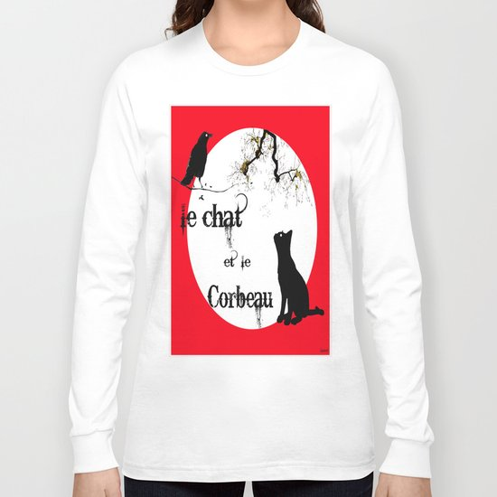 Le chat et le corbeau  Long Sleeve T-shirt
