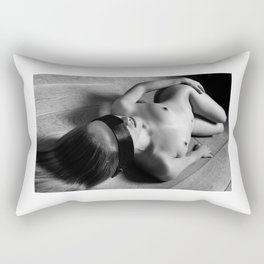 Nude woman laying on the floor and image in Black and White Rectangular Pillow