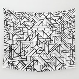 GEOMETRIC BLACK AND WHITE OUTLINES SHAPES MINIMAL MINIMALIST DIGITAL PATTERN Wall Tapestry