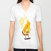 cheese V-neck T-shirts featuring Say cheese by Lime