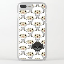 Black Sheep Pattern - Cute Animal Illustration Clear iPhone Case