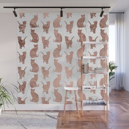 Modern faux rose gold cats pattern white marble Wall Mural