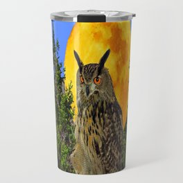 OWL WITH FULL MOON & TREES NATURE BLUE DESIGN Travel Mug
