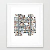 the neighbourhood Framed Art Prints featuring Neighbourhood pattern by Rceeh