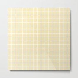 Lemon meringue - pink color - White Lines Grid Pattern Metal Print