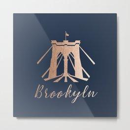 Rosegold on Navy Brooklyn Bridge Metal Print
