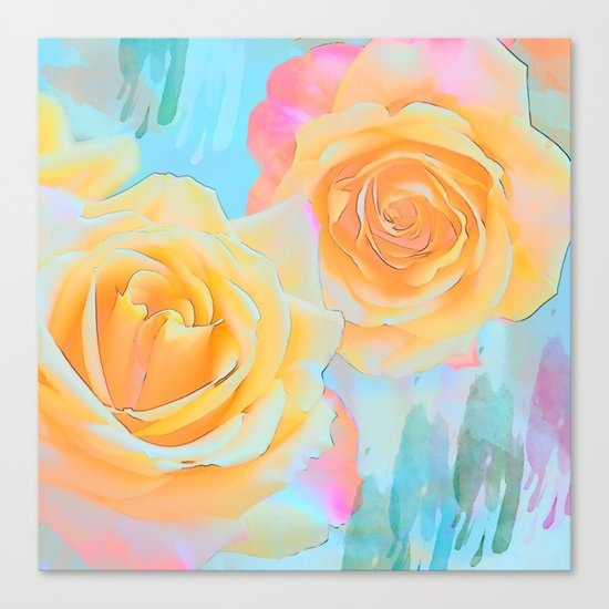 Pastel roses on an abstract water colour background Canvas Print