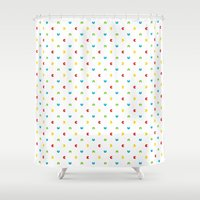 pacman Shower Curtains featuring Pacman polka dots by muchö