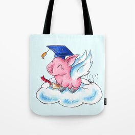 Winged Piggy Grad Tote Bag