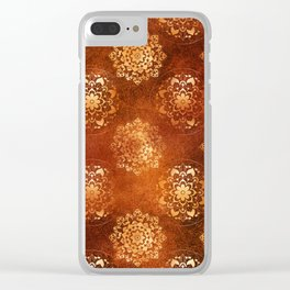 Copper brown and gold circle mandala pattern Clear iPhone Case