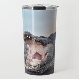 Large American Alligator with its Mouth open Travel Mug