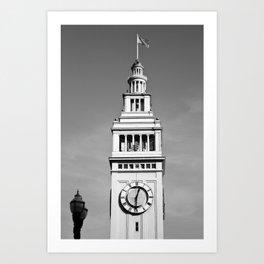 Ferry Building + USA Flag, San Francisco Art Print