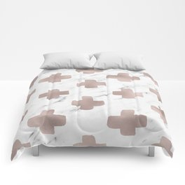 Rose gold marble - scandinavian cross Comforters