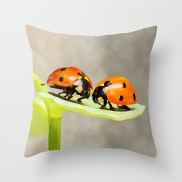 Ladybug Love   ladybird beetles   Watercolor Painting Throw Pillow