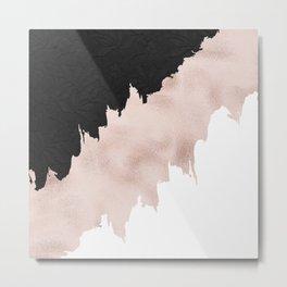 Modern black lace pink rose gold brushstrokes Metal Print