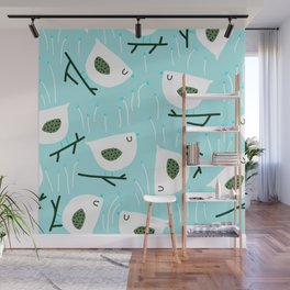 Mid-Century Modern Birds on Twigs Aqua Print Wall Mural