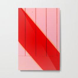 Red striped shadow on Pink Wood  Metal Print