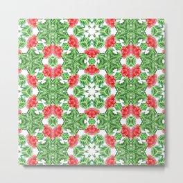 Holly Jolly Christmas Mandala (Small Pattern) Metal Print
