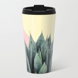 Agave Plant on Lemon and Pink Wall Travel Mug