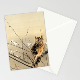 Goun Owl with Early Plum Blossoms Woodblock Print Stationery Cards