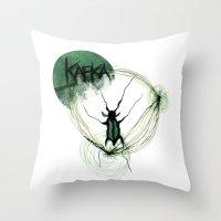 kafka Throw Pillows featuring Kafka Hommage by Hellbunt